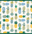 flat seamless pattern with pineapples of various vector image vector image