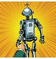 Follow me the robot leads us forward vector image vector image
