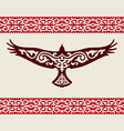 golden eagle with a kazakh ornament vector image