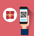 hand hold smart phone scanning qr code with gift vector image