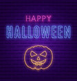 happy halloween bright signboard with pumpkin vector image vector image