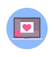 heart on laptop screen icon on blue round vector image vector image