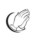 hopeful praying hands icon symbol vector image