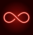 infinity sign from glowing red neon line vector image