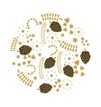 leafs gold decorative icon vector image