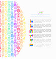 lgbt concept with thin line icons vector image vector image