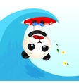 Little cute panic surfer panda in wave tube vector image vector image