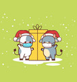 little oxes in masks standing near gift box happy vector image vector image