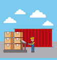 logistic worker and container cradboard boxes on vector image vector image