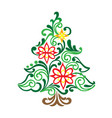 meri christmas tree with stars 2018 holiday vector image vector image