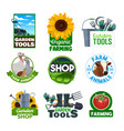 organic farming garden tools and cattle animals vector image vector image