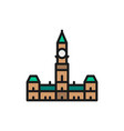 parliament hill ottawa flat color line icon vector image vector image