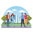 peope at park cartoons vector image