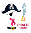 pirate icons accessories hat sword vector image