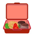 red lunchbox icon cartoon style vector image