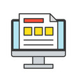 report or data on computer screen online database vector image