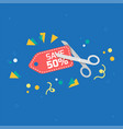save 50 scissors cutting red tag blue background vector image