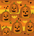 seamless pattern with halloween pumpkins on vector image vector image