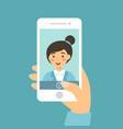 selfie smartphone woman blue cartoon vector image vector image