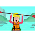 senior woman having fun in water rafting vector image