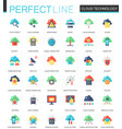 set of flat cloud data technology icons vector image