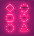 set of realistic glowing purple neon frames vector image vector image