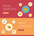 set of website development icons flat style vector image