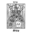 ship tarot card from lenormand gothic mysteries vector image vector image