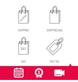 Shopping sale bag and coupon icons vector image vector image