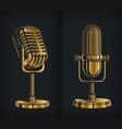 silhouette classic gold retro microphone logo vector image