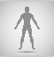 silhouette man of pixels abstract background vector image vector image