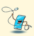 smartphone and usb cord lasso vector image