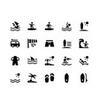 surfing glyph icons vector image vector image