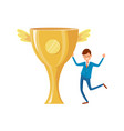 trophy cup with golden wing successful businessman vector image