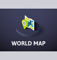 world map isometric icon isolated on color vector image vector image