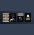 year gold folk deer pattern card set vector image vector image