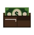 colorful wallet with cards and cash graphic vector image