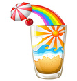 A glass with a summer template vector image