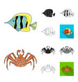 a variety of marine animals cartoonblackflat vector image