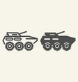 armored troop-carrier line and glyph icon armored vector image