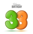 birthday Greeting card with numbers 33 thirty vector image vector image