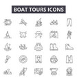 boat tours line icons signs set outline vector image vector image