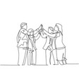 business deal concept one line drawing young vector image vector image