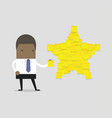 businessman with star shape yellow sticky notes vector image