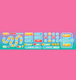 buttons for mobile user game ui interface in pink vector image vector image
