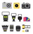 camera photo studio icons optic lenses vector image vector image