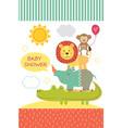 card with baby jungle animals vector image vector image
