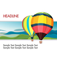 Colorful hot air balloons mountain background vector image