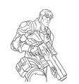 contour picture of a brutal policeman with a gun vector image vector image