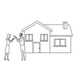 couple and house black and white vector image vector image